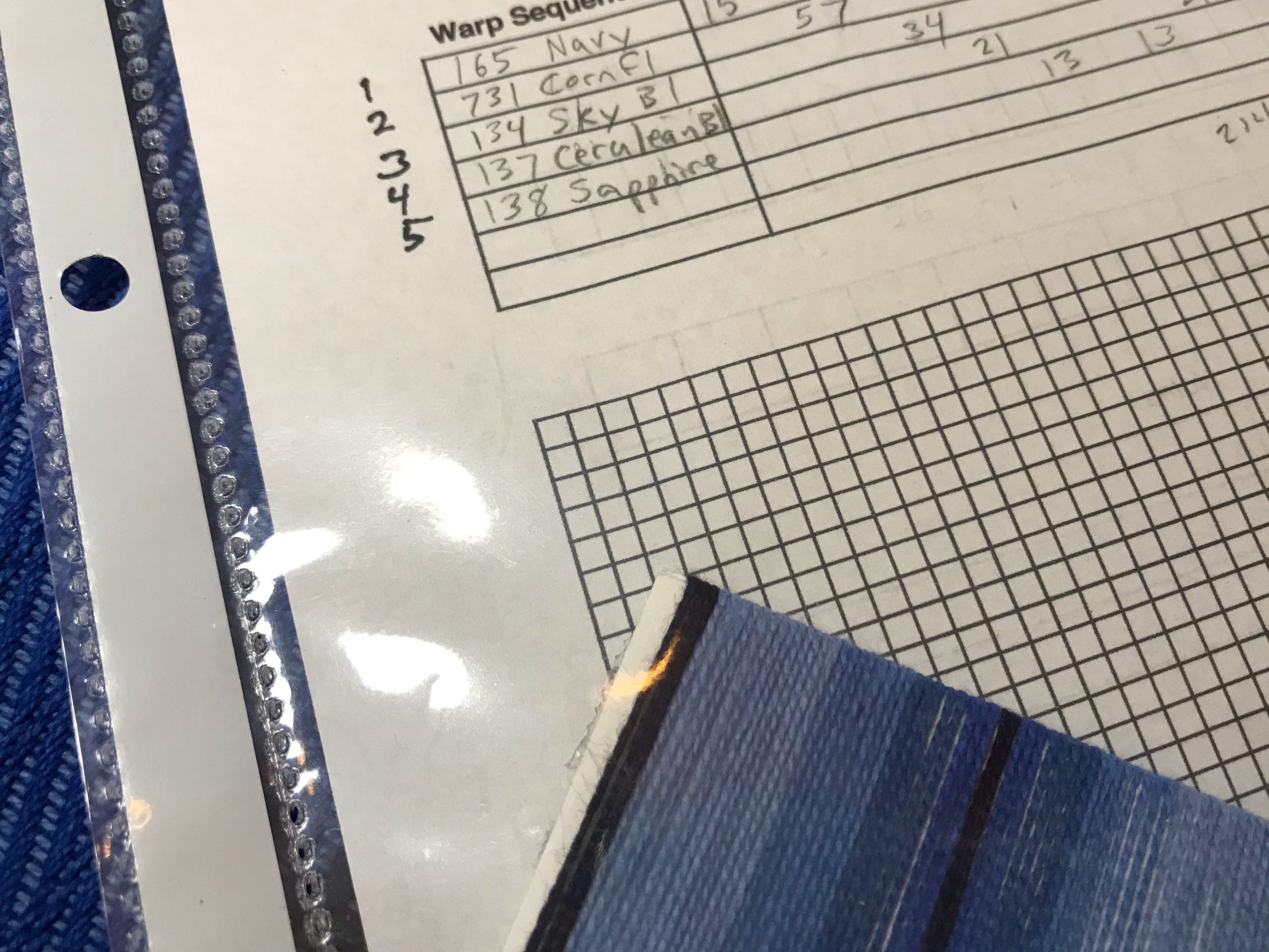 Project Notes for weaving with 5 blues.