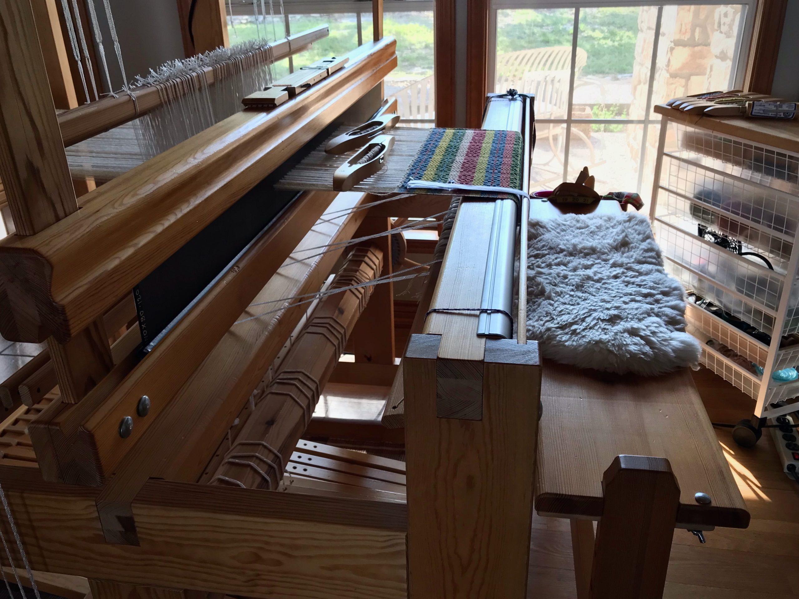 Swedish Monksbelt on a Glimakra Standard loom.