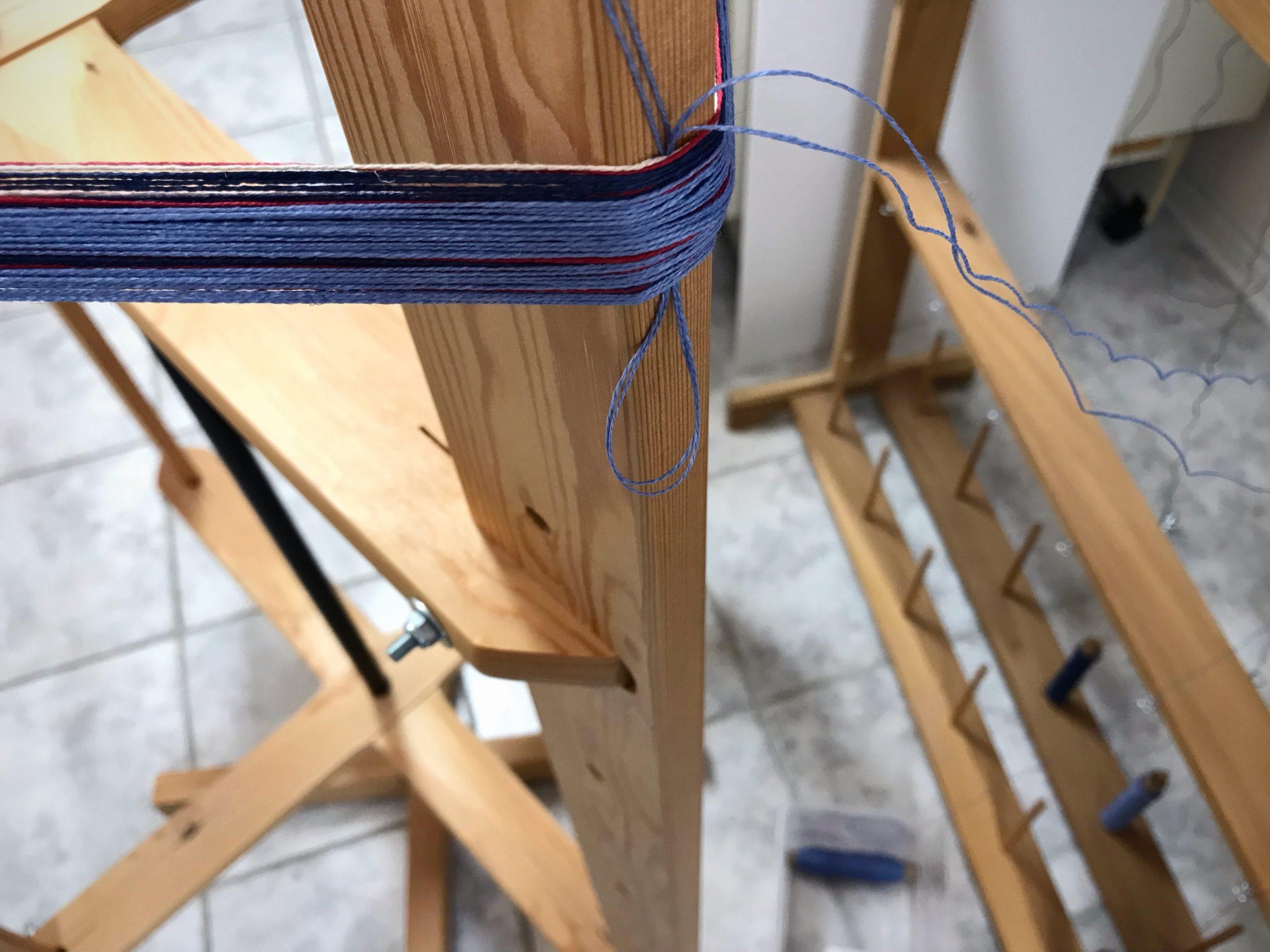 Glimakra warping reel, linen warp.