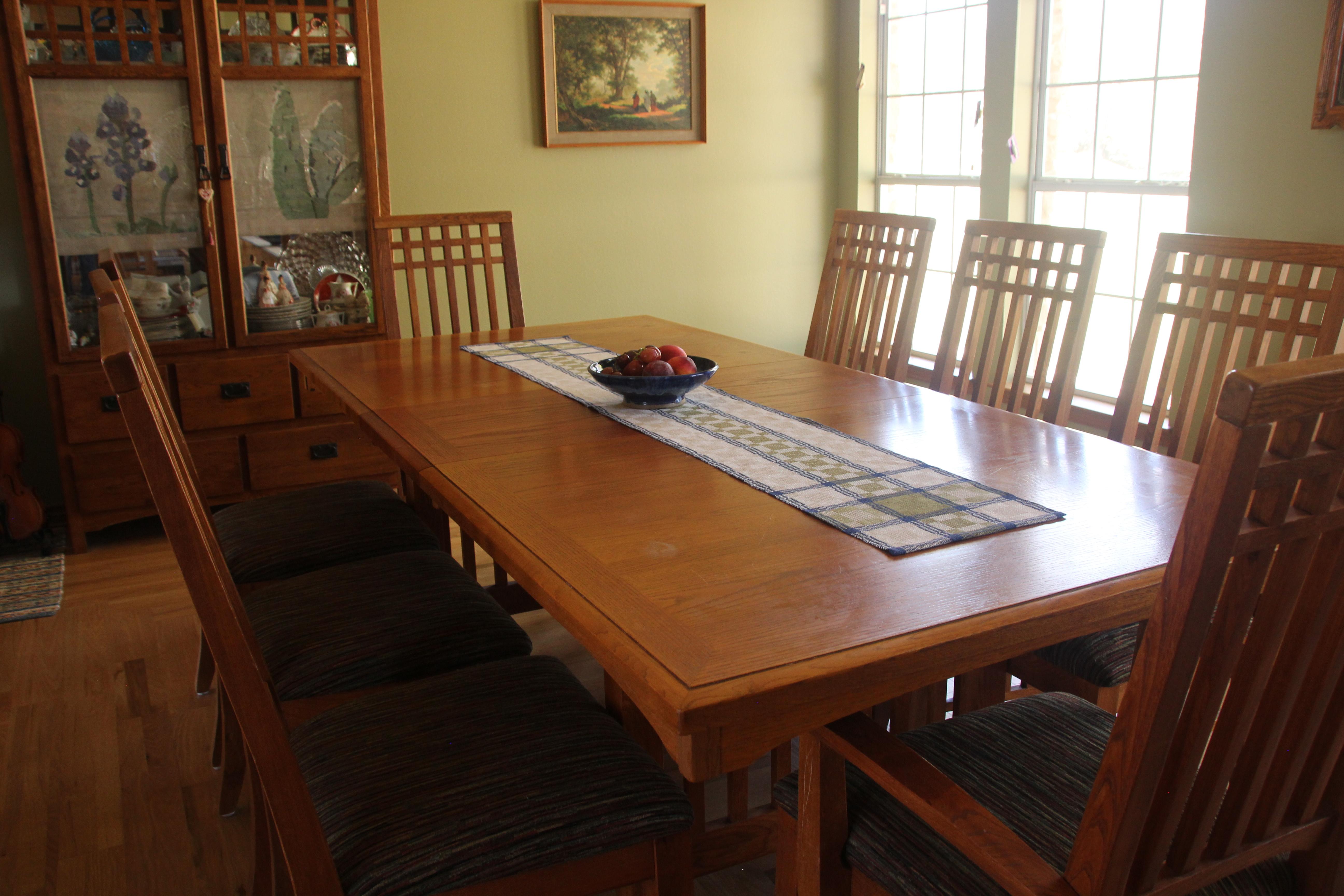Handwoven linen table runner in a handweaver's home.