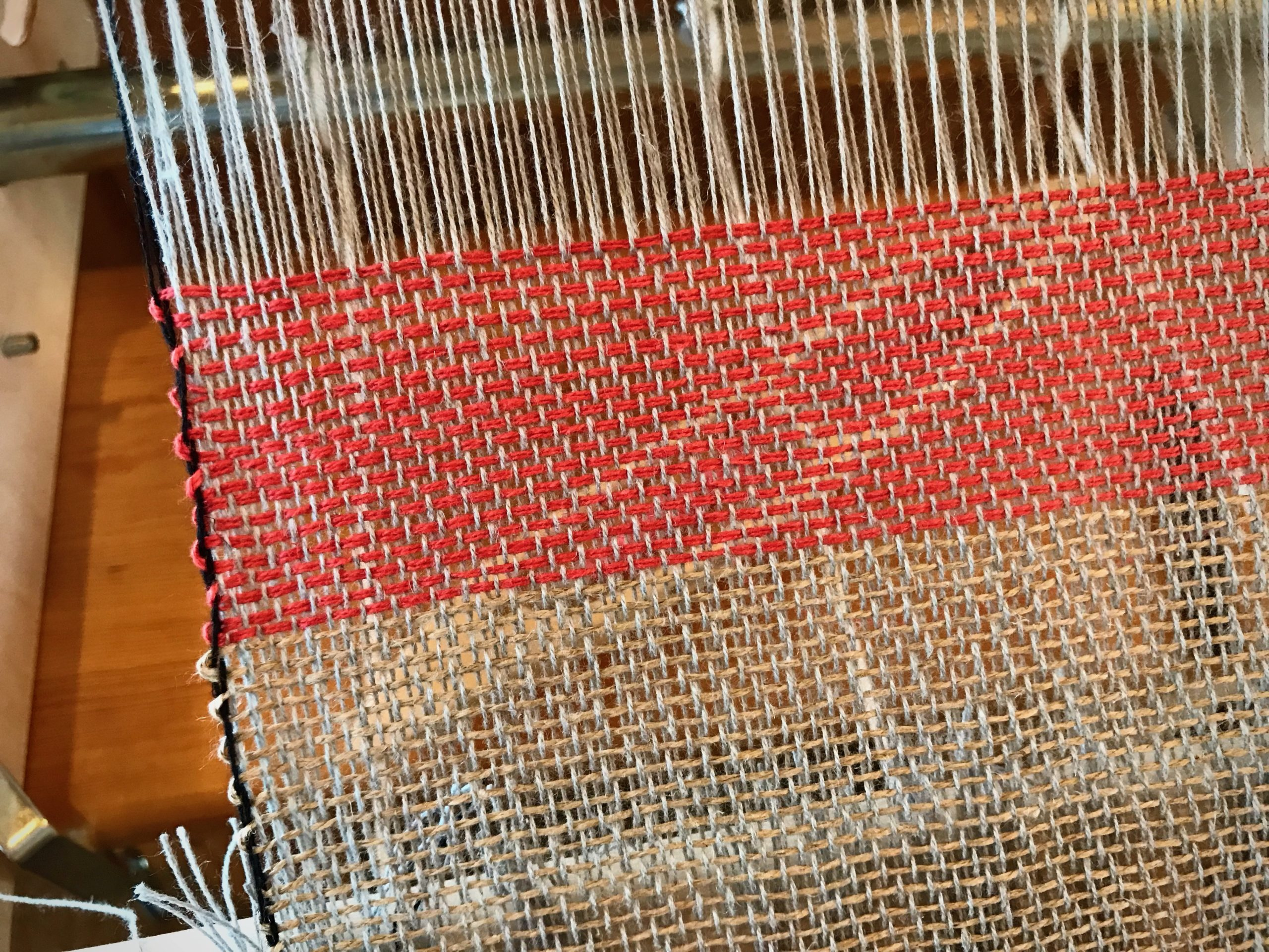 Weaving with 2 heddles on rigid heddle loom.